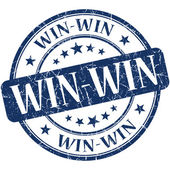 Win-win blue round grungy vintage rubber stamp — Stockfoto
