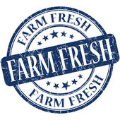 Farm fresh blue round grungy vintage rubber stamp — Stock Photo