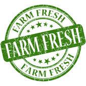 Farm fresh green round grungy vintage rubber stamp — Foto de Stock