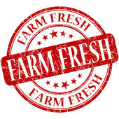 Farm fresh red round grungy vintage rubber stamp — Stock Photo