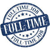 Full-time job blue round grungy vintage rubber stamp — Foto de Stock
