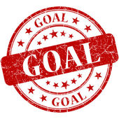 Goal red round grungy vintage rubber stamp — Stock Photo