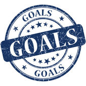 Goals blue round grungy vintage rubber stamp — Stock Photo