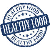 Healthy food blue round grungy vintage rubber stamp — Foto de Stock