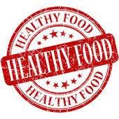 Healthy food red round grungy vintage rubber stamp — Stock Photo
