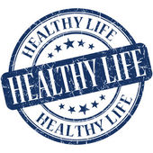 Healthy life blue round grungy vintage rubber stamp — Stock Photo