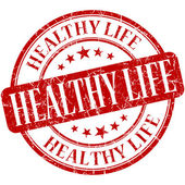 Healthy life red round grungy vintage rubber stamp — Stock Photo