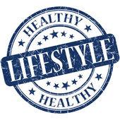 Estilo de vida saludable azul redondo grungy sello vintage — Foto de Stock