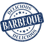 Barbeque blue round grungy vintage rubber stamp — Stock Photo