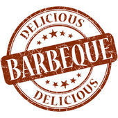 Barbeque brown round grungy vintage rubber stamp — Stock Photo