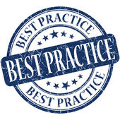Best practice blue round grungy vintage rubber stamp — Stock Photo