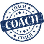 Coach blue round grungy vintage rubber stamp — Stock Photo