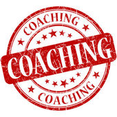 Coaching red round grungy vintage rubber stamp — Stock Photo