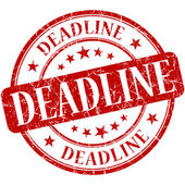 Deadline red round grungy vintage rubber stamp — Stock Photo