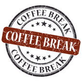 Coffee break brown round grungy stamp isolated on white background — Stok fotoğraf