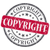 Copyright red round grungy stamp isolated on white background — Stock Photo