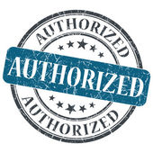 Authorized blue round grungy stamp isolated on white background — Stok fotoğraf
