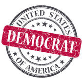 Democrat red round grungy stamp isolated on white background — Zdjęcie stockowe