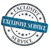 Exclusive service blue round grungy stamp isolated on white background — Stock Photo