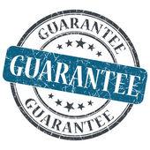 Gwarancja niebieski okrągły znaczek nieczysty na białym tle — Zdjęcie stockowe