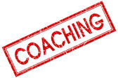 Coaching red square grungy stamp isolated on white background — Stock Photo