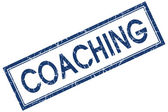 Coaching blue square grungy stamp isolated on white background — Stock Photo