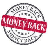 Money back red round grungy stamp isolated on white background — Stock Photo