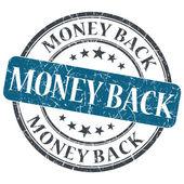 Money back blue round grungy stamp isolated on white background — Stock Photo