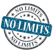 No limits blue round grungy stamp isolated on white background — Stock Photo
