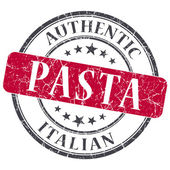 Pasta red round grungy stamp isolated on white background — Stockfoto