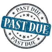 Past due blue round grungy stamp isolated on white background — Stock Photo