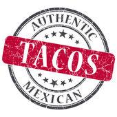 Tacos rouges rond timbre grungy isolé sur fond blanc — Photo