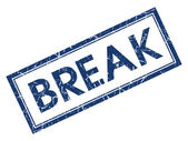 Break blue square grungy stamp isolated on white background — ストック写真
