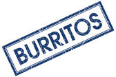 Burritos blue square grungy stamp isolated on white background — ストック写真
