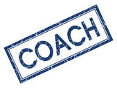 Coach blue square grungy stamp isolated on white background — Stock Photo