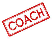Coach red square grungy stamp isolated on white background — ストック写真