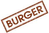 Beyaz arka plan üzerinde izole kahverengi burger kare grungy damgası — Stok fotoğraf