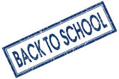 Back to school blue square grungy stamp isolated on white background — Stockfoto