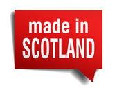 Made in Scotland red 3d realistic speech bubble isolated on white background — Stok Vektör