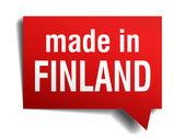 Beyaz arka plan üzerinde izole kırmızı 3d gerçekçi konuşma balonu finlandiya'da yapılan — Stok Vektör