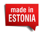 Made in Estonia red 3d realistic speech bubble isolated on white background — Stockvector