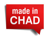 Made in Chad red  3d realistic speech bubble isolated on white background — Stock Vector