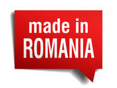 Made in Romania red  3d realistic speech bubble isolated on white background — Stockvector