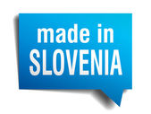 Made in Slovenia blue 3d realistic speech bubble isolated on white background — Stockvector