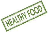 Healthy food green square grungy stamp isolated on white background — Stock Photo