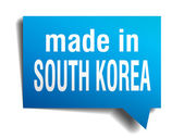 Made in south korea blue 3d realistic speech bubble isolated on white background — Stockvektor