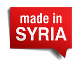 Made in Syria red  3d realistic speech bubble isolated on white background — Stockvektor