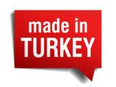 Feita na turquia vermelho 3d realista discurso bolha isolada no fundo branco — Vetorial Stock