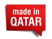 Feita no qatar vermelho 3d realista discurso bolha isolado no fundo branco — Vetorial Stock