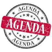 Agenda red grunge textured vintage isolated stamp — Stock Photo